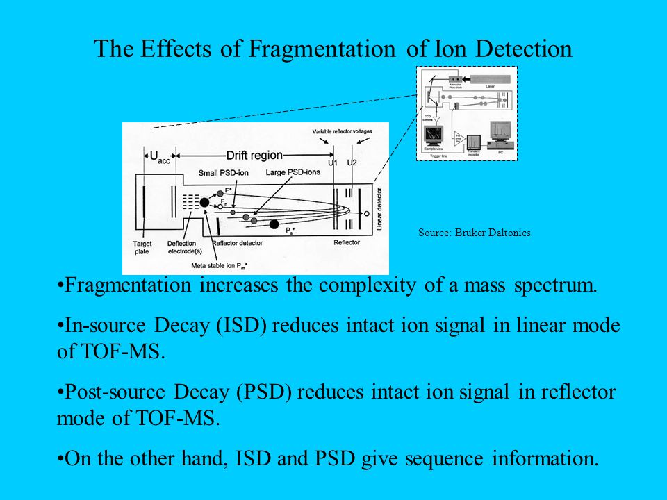 The Effects of Fragmentation of Ion Detection Source: Bruker Daltonics Fragmentation increases the complexity of a mass spectrum.