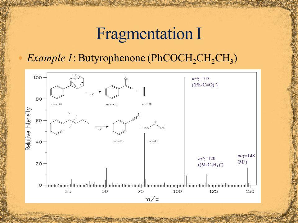 Example 2: 1-Phenyl-2-butanone (PhCH 2 COCH 2 CH 3 ) m/z=148 (M + ) m/z=91 (PhCH 2 + ) m/z=57 (CH 3 CH 2 CO + ) No peak at m/z=120