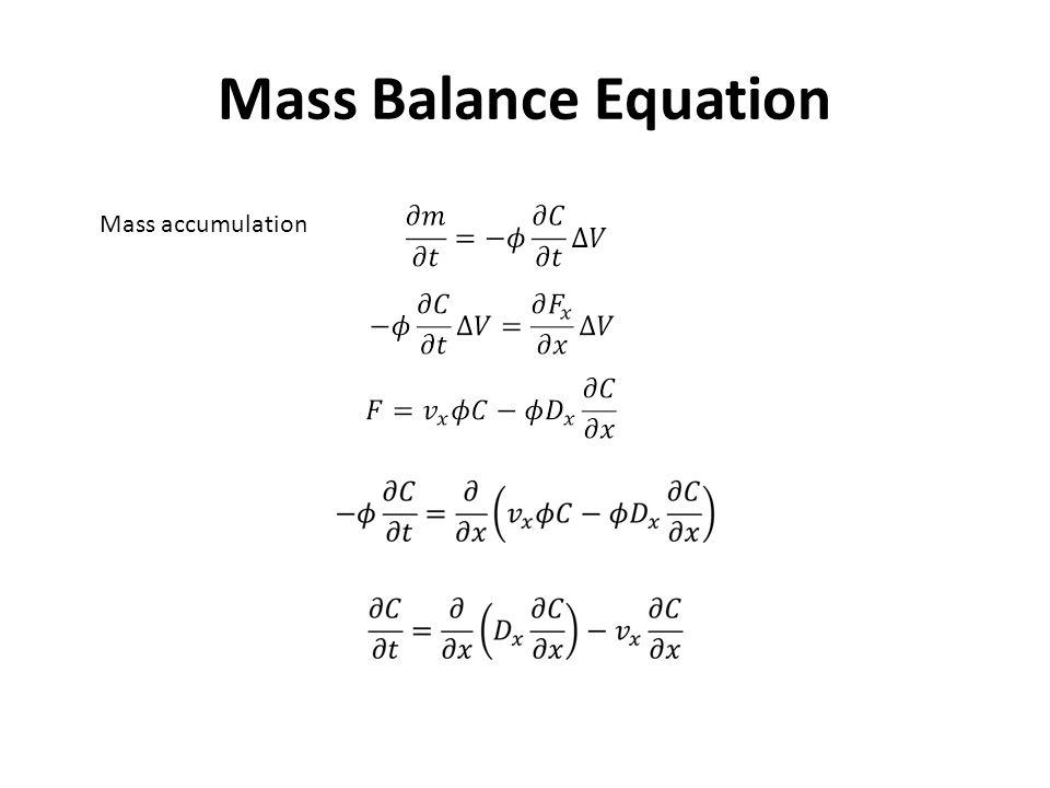 Mass Balance Equation Mass accumulation