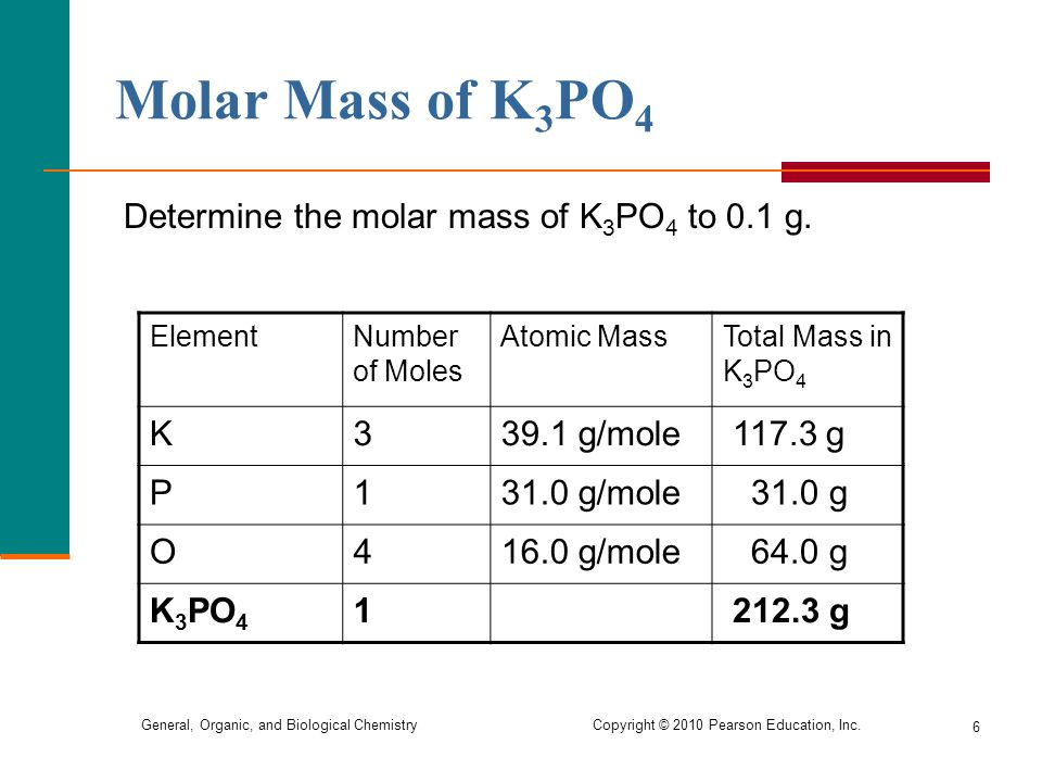 General, Organic, and Biological Chemistry Copyright © 2010 Pearson Education, Inc. 6 Molar Mass of K 3 PO 4 Determine the molar mass of K 3 PO 4 to 0