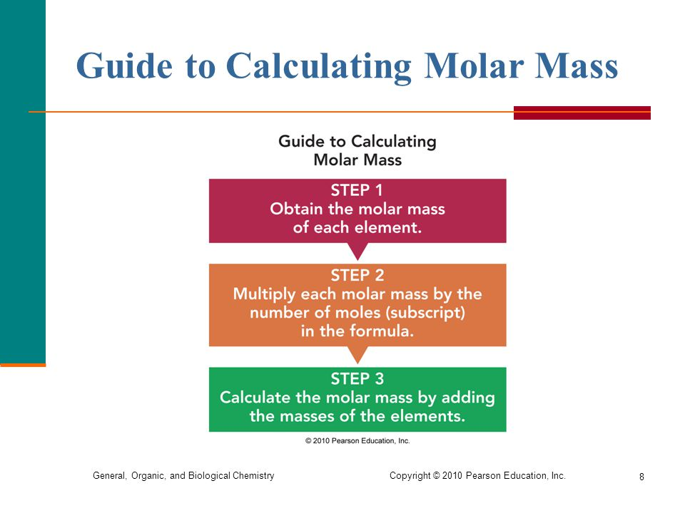 General, Organic, and Biological Chemistry Copyright © 2010 Pearson Education, Inc. Guide to Calculating Molar Mass 8