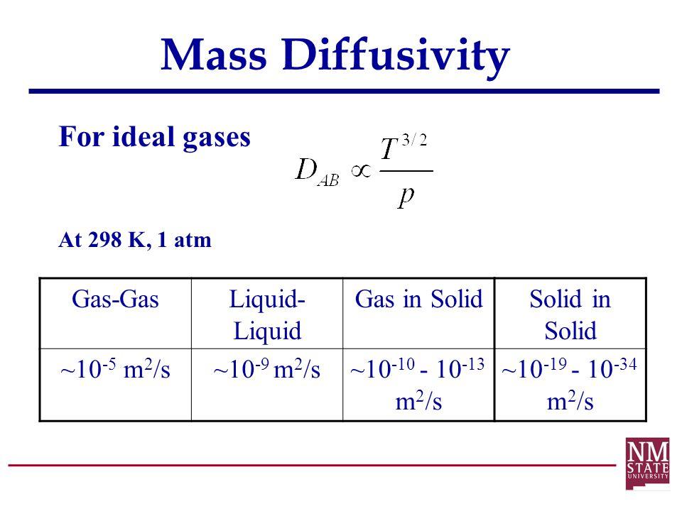 Mass Diffusivity For ideal gases Gas-GasLiquid- Liquid Gas in Solid ~10 -5 m 2 /s~10 -9 m 2 /s~10 -10 - 10 -13 m 2 /s Solid in Solid ~10 -19 - 10 -34