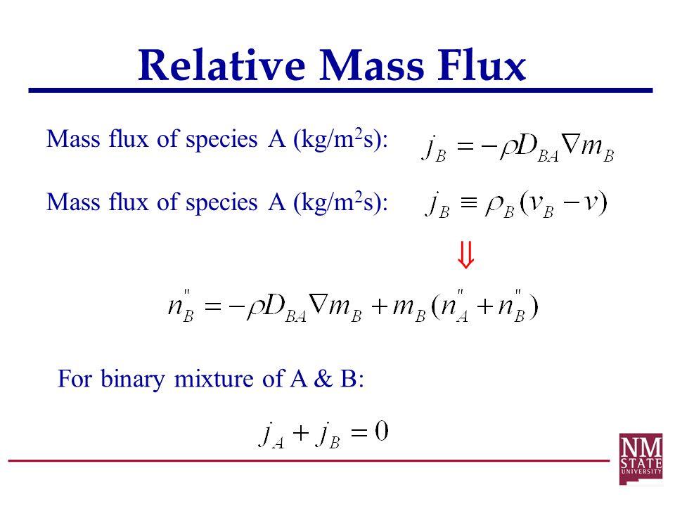 Relative Mass Flux Mass flux of species A (kg/m 2 s):  For binary mixture of A & B: