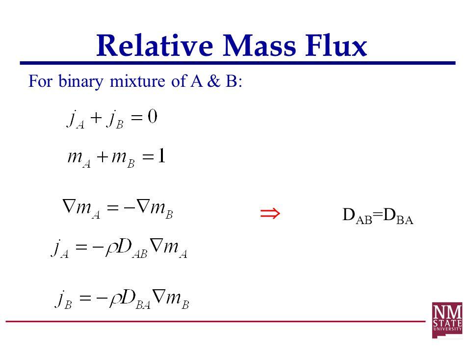 Relative Mass Flux For binary mixture of A & B:  D AB =D BA