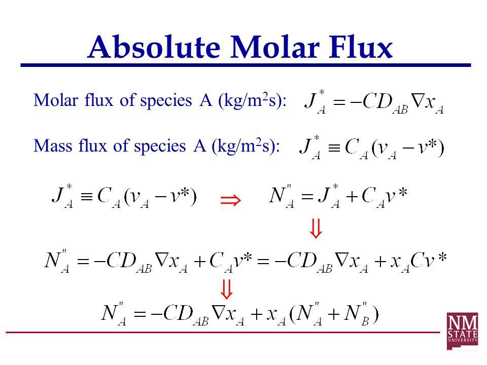 Absolute Molar Flux Molar flux of species A (kg/m 2 s): Mass flux of species A (kg/m 2 s):   