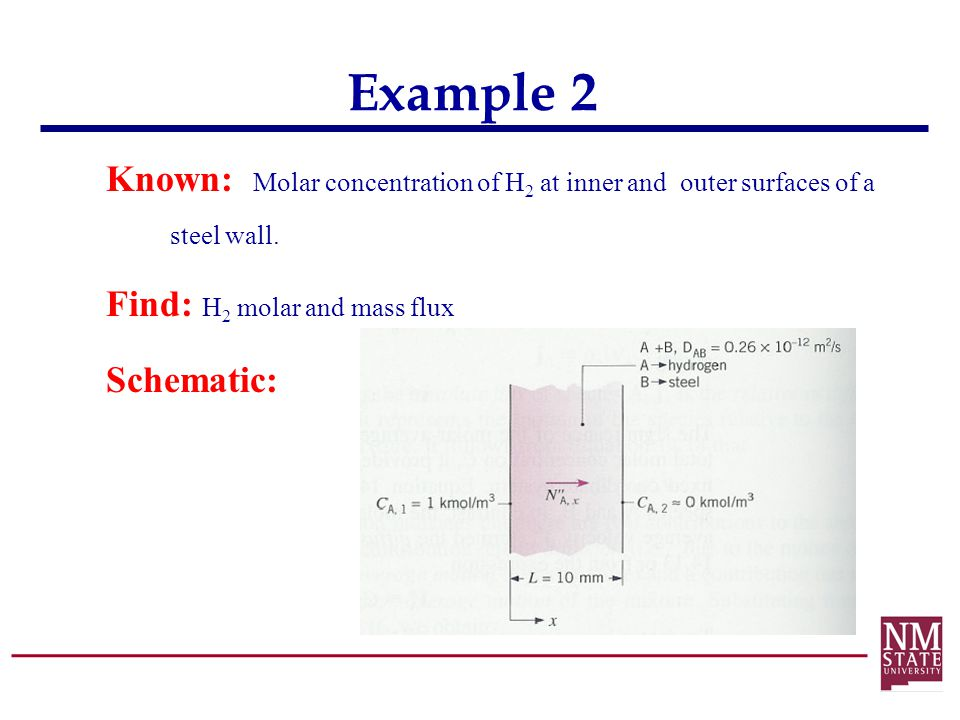 Example 2 Known: Molar concentration of H 2 at inner and outer surfaces of a steel wall. Find: H 2 molar and mass flux Schematic: