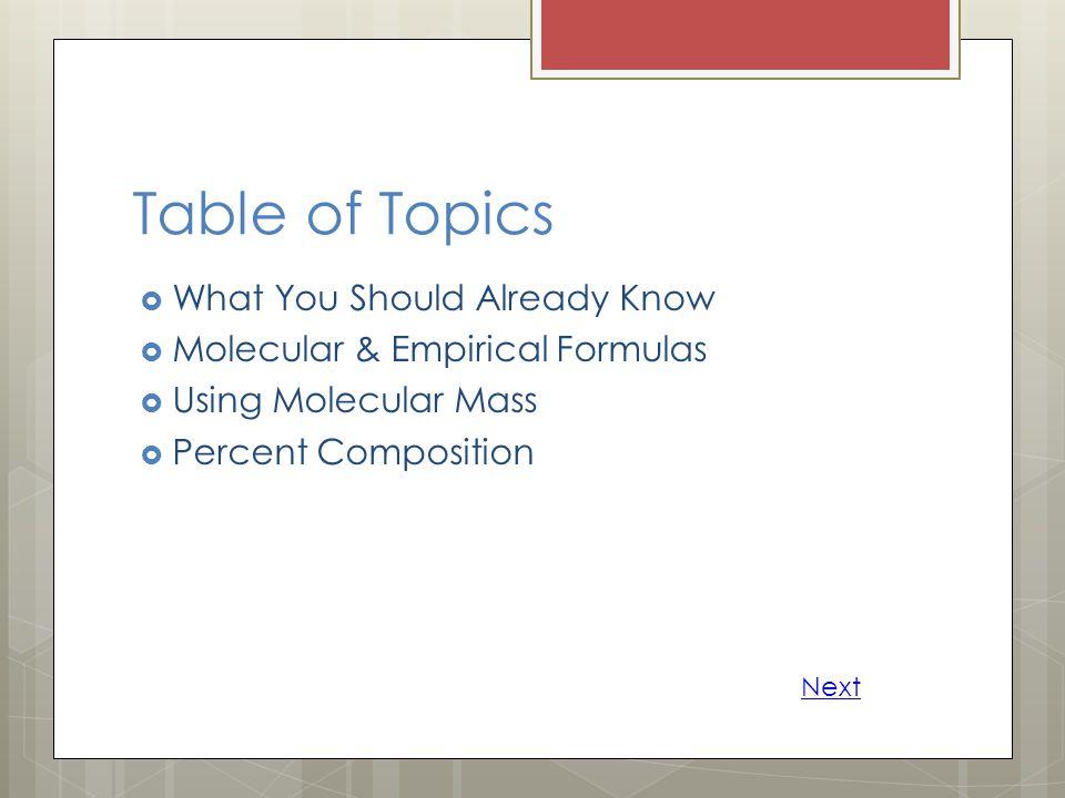 Table of Topics  What You Should Already Know  Molecular & Empirical Formulas  Using Molecular Mass  Percent Composition Next
