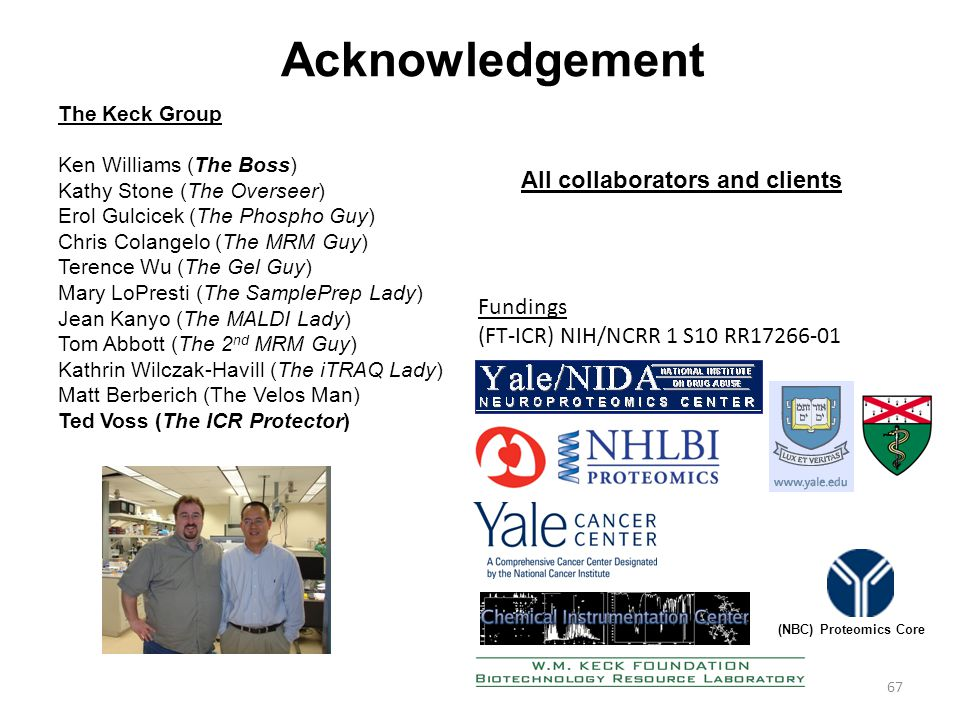 67 Acknowledgement The Keck Group Ken Williams (The Boss) Kathy Stone (The Overseer) Erol Gulcicek (The Phospho Guy) Chris Colangelo (The MRM Guy) Terence Wu (The Gel Guy) Mary LoPresti (The SamplePrep Lady) Jean Kanyo (The MALDI Lady) Tom Abbott (The 2 nd MRM Guy) Kathrin Wilczak-Havill (The iTRAQ Lady) Matt Berberich (The Velos Man) Ted Voss (The ICR Protector) All collaborators and clients Fundings (FT-ICR) NIH/NCRR 1 S10 RR17266-01 (NBC) Proteomics Core