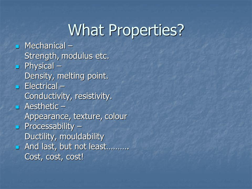 What Properties. Mechanical – Mechanical – Strength, modulus etc.