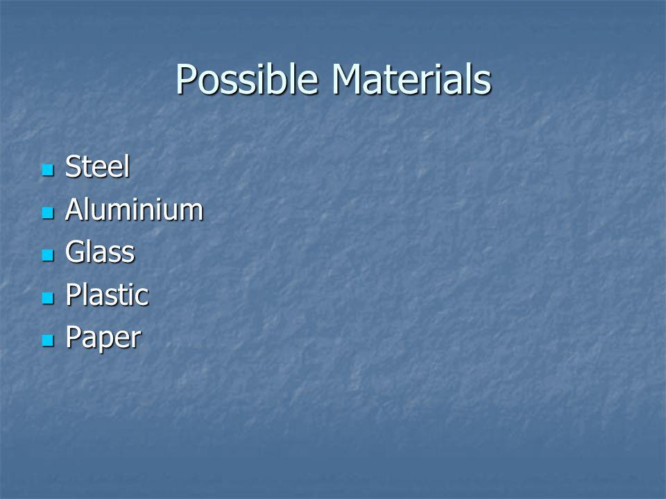 Possible Materials Steel Steel Aluminium Aluminium Glass Glass Plastic Plastic Paper Paper