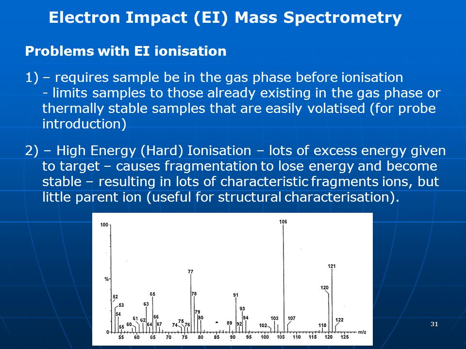 31 Electron Impact (EI) Mass Spectrometry Problems with EI ionisation 1)– requires sample be in the gas phase before ionisation - limits samples to th