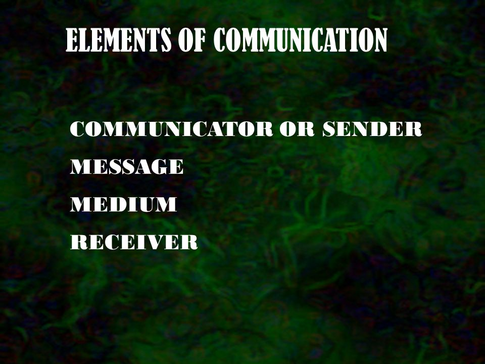 Communication. Sharing of Experience, information, feelings, KNOWLEDGE ect.