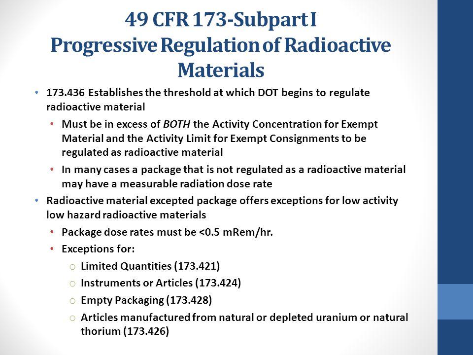 49 CFR 173-Subpart I Progressive Regulation of Radioactive Materials 173.436 Establishes the threshold at which DOT begins to regulate radioactive mat