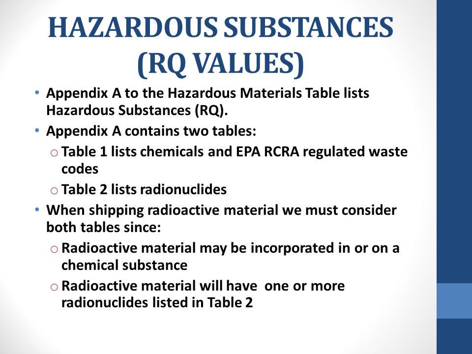 HAZARDOUS SUBSTANCES (RQ VALUES) Appendix A to the Hazardous Materials Table lists Hazardous Substances (RQ). Appendix A contains two tables: o Table