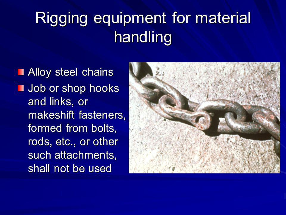 Rigging equipment for material handling Check for Cracks and Twisting Check for Wear and Cracks Check for Wear and Deformation Signs of Opening Up Check that Hook is Not Twisted 15%10º