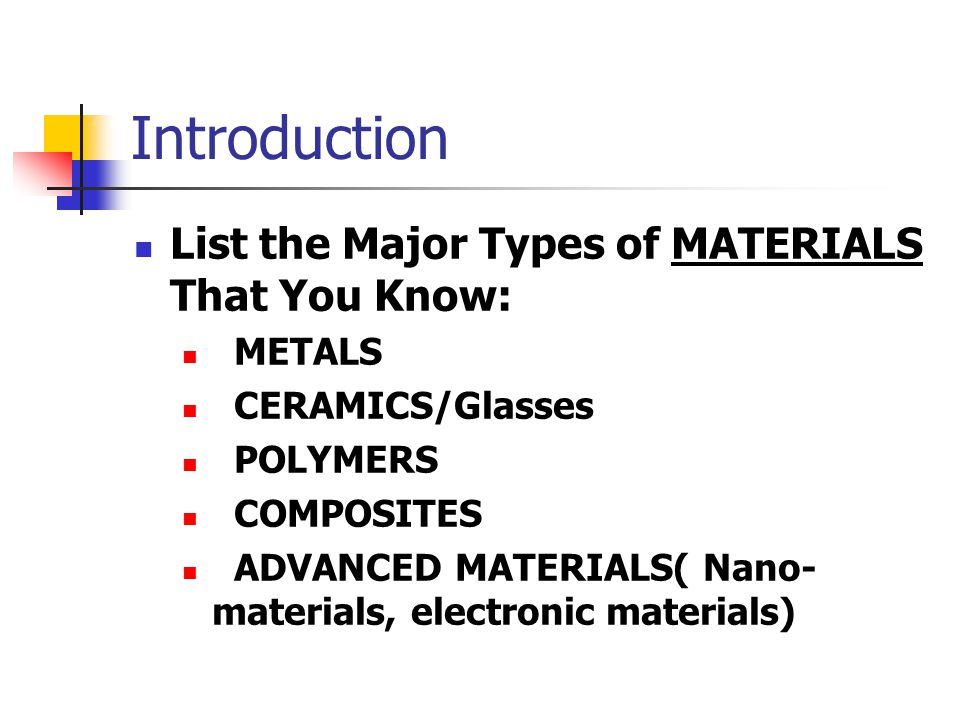 Introduction List the Major Types of MATERIALS That You Know: METALS CERAMICS/Glasses POLYMERS COMPOSITES ADVANCED MATERIALS( Nano- materials, electro