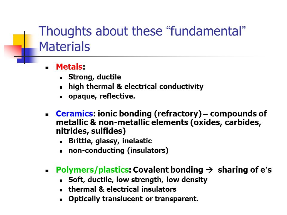 """Thoughts about these """" fundamental """" Materials Metals: Strong, ductile high thermal & electrical conductivity opaque, reflective. Ceramics: ionic bond"""