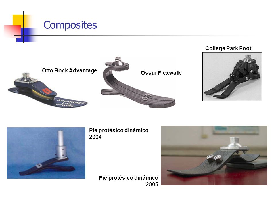 Composites Ossur Flexwalk College Park Foot Otto Bock Advantage Pie protésico dinámico 2004 Pie protésico dinámico 2005