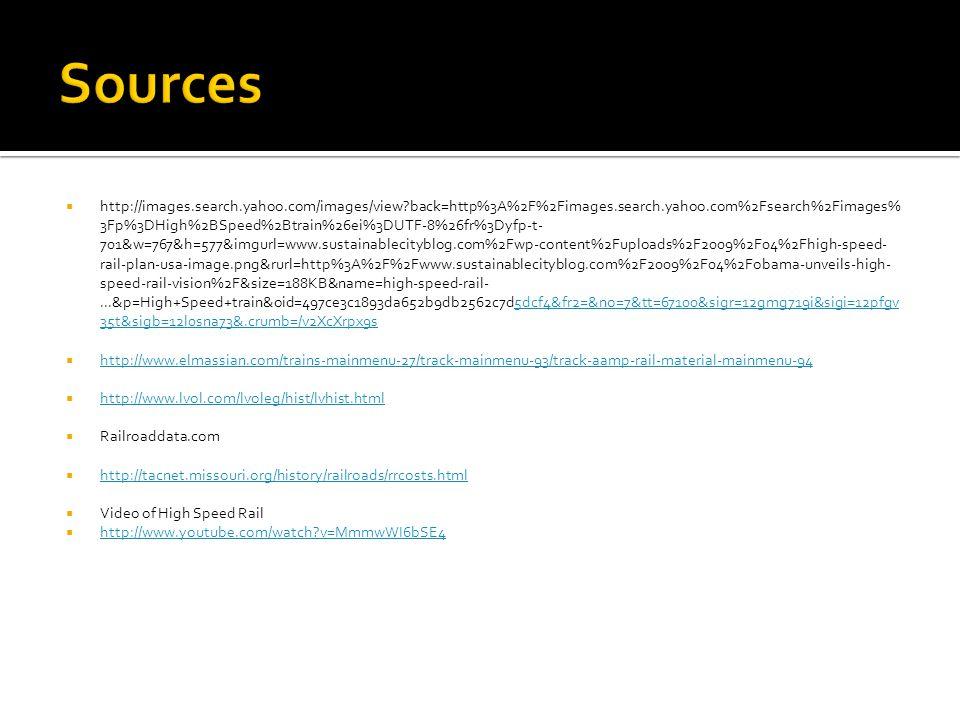  http://images.search.yahoo.com/images/view back=http%3A%2F%2Fimages.search.yahoo.com%2Fsearch%2Fimages% 3Fp%3DHigh%2BSpeed%2Btrain%26ei%3DUTF-8%26fr%3Dyfp-t- 701&w=767&h=577&imgurl=www.sustainablecityblog.com%2Fwp-content%2Fuploads%2F2009%2F04%2Fhigh-speed- rail-plan-usa-image.png&rurl=http%3A%2F%2Fwww.sustainablecityblog.com%2F2009%2F04%2Fobama-unveils-high- speed-rail-vision%2F&size=188KB&name=high-speed-rail-...&p=High+Speed+train&oid=497ce3c1893da652b9db2562c7d5dcf4&fr2=&no=7&tt=67100&sigr=12gmg719i&sigi=12pfgv 35t&sigb=12l0sna73&.crumb=/v2XcXrpx9s5dcf4&fr2=&no=7&tt=67100&sigr=12gmg719i&sigi=12pfgv 35t&sigb=12l0sna73&.crumb=/v2XcXrpx9s  http://www.elmassian.com/trains-mainmenu-27/track-mainmenu-93/track-aamp-rail-material-mainmenu-94 http://www.elmassian.com/trains-mainmenu-27/track-mainmenu-93/track-aamp-rail-material-mainmenu-94  http://www.lvol.com/lvoleg/hist/lvhist.html http://www.lvol.com/lvoleg/hist/lvhist.html  Railroaddata.com  http://tacnet.missouri.org/history/railroads/rrcosts.html http://tacnet.missouri.org/history/railroads/rrcosts.html  Video of High Speed Rail  http://www.youtube.com/watch v=MmmwWI6bSE4 http://www.youtube.com/watch v=MmmwWI6bSE4