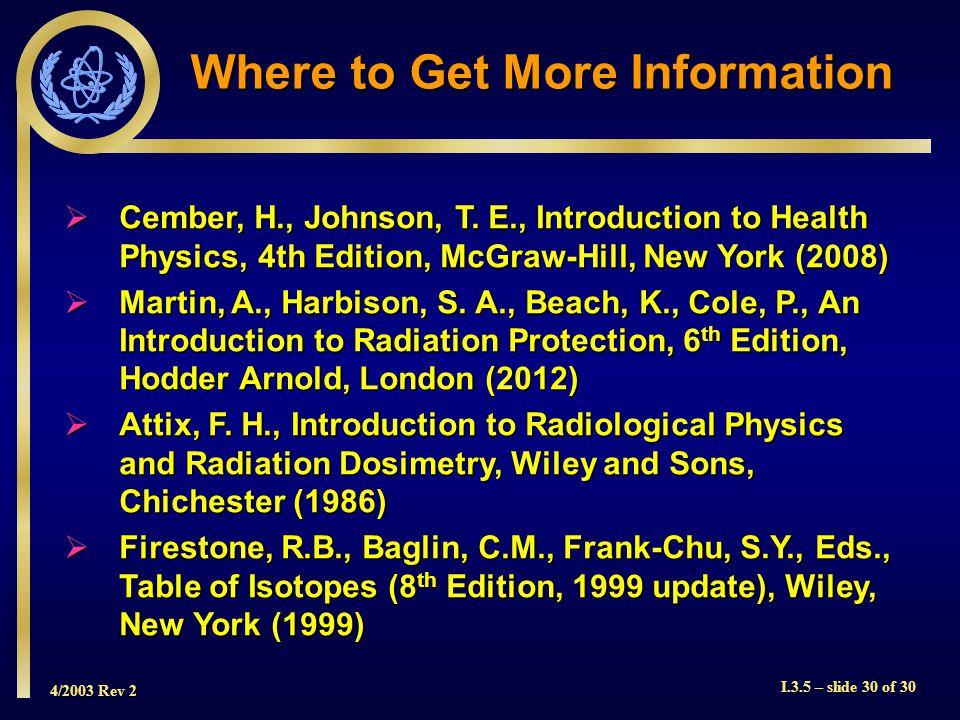 4/2003 Rev 2 I.3.5 – slide 30 of 30 Where to Get More Information  Cember, H., Johnson, T.