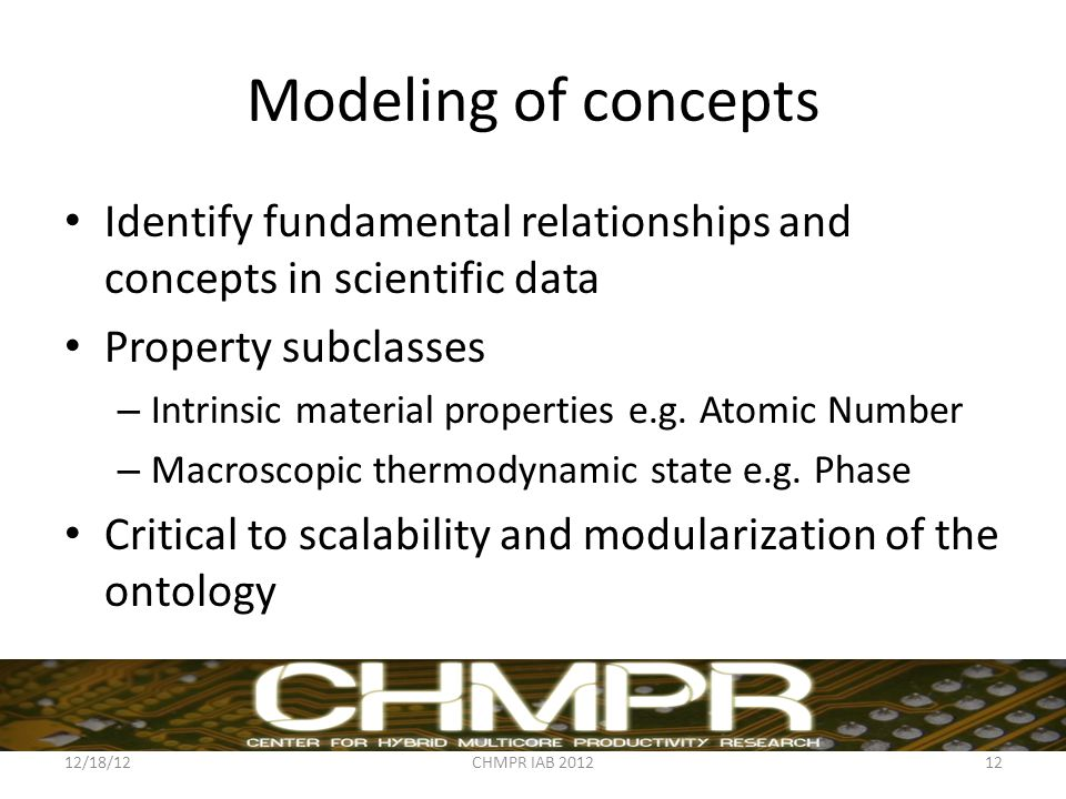 Modeling of concepts Identify fundamental relationships and concepts in scientific data Property subclasses – Intrinsic material properties e.g.