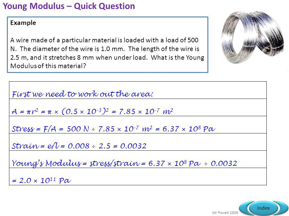 Mr Powell 2009 Index Young Modulus – Quick Question Example A wire made of a particular material is loaded with a load of 500 N.