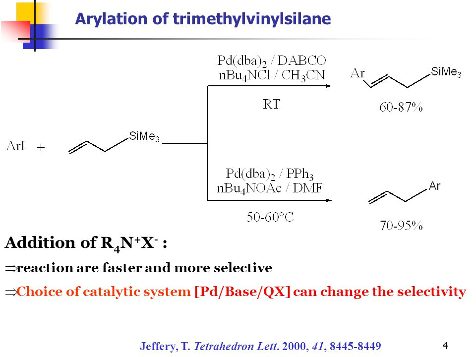 4 Arylation of trimethylvinylsilane Jeffery, T. Tetrahedron Lett. 2000, 41, 8445-8449 Addition of R 4 N + X - :  reaction are faster and more selecti