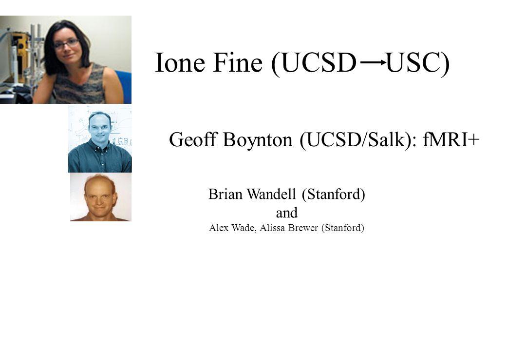 Ione Fine (UCSD USC) Geoff Boynton (UCSD/Salk): fMRI+ Brian Wandell (Stanford) and Alex Wade, Alissa Brewer (Stanford)