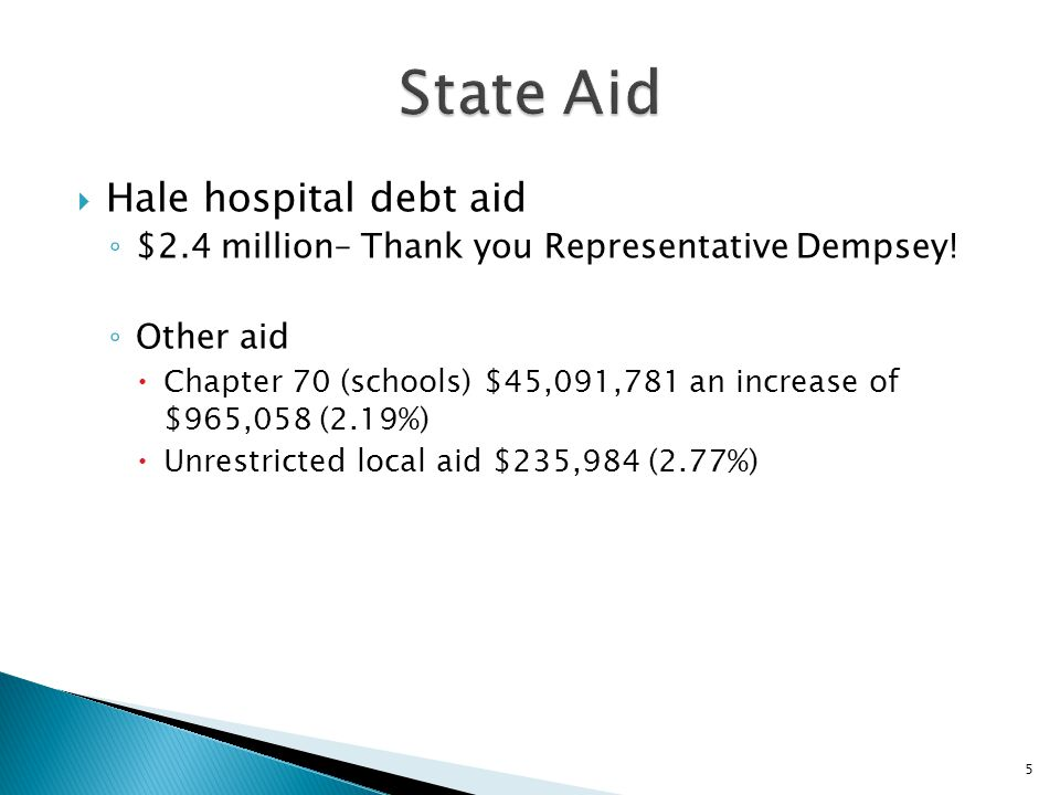  Hale hospital debt aid ◦ $2.4 million– Thank you Representative Dempsey! ◦ Other aid  Chapter 70 (schools) $45,091,781 an increase of $965,058 (2.1