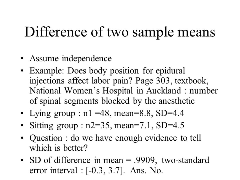 Difference of two sample means Assume independence Example: Does body position for epidural injections affect labor pain.