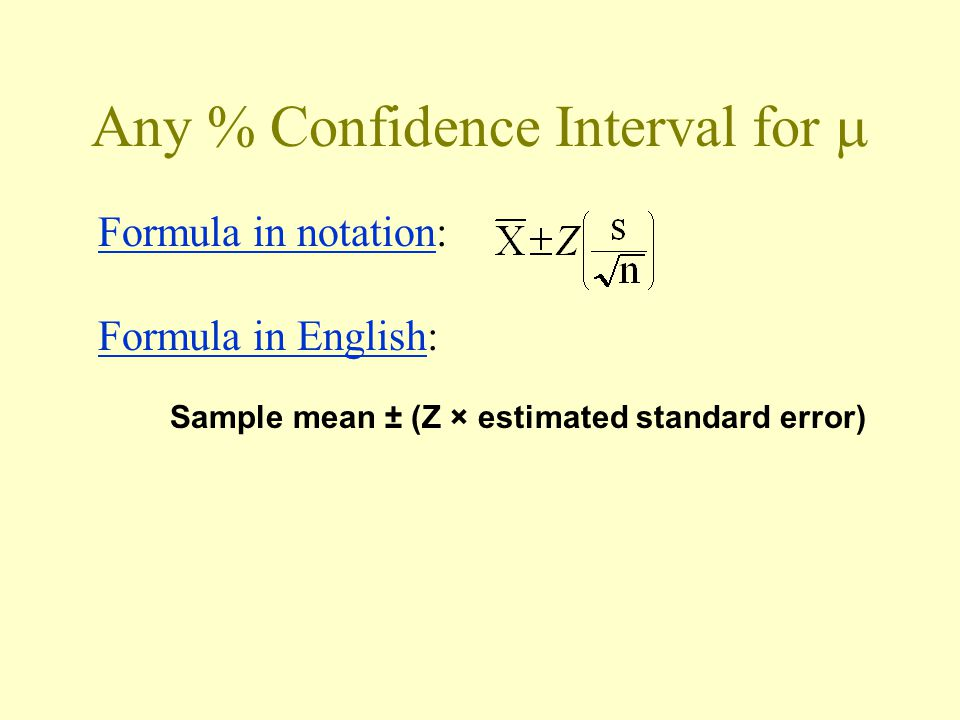 Any % Confidence Interval for  Formula in notation: Formula in English: Sample mean ± (Z × estimated standard error)