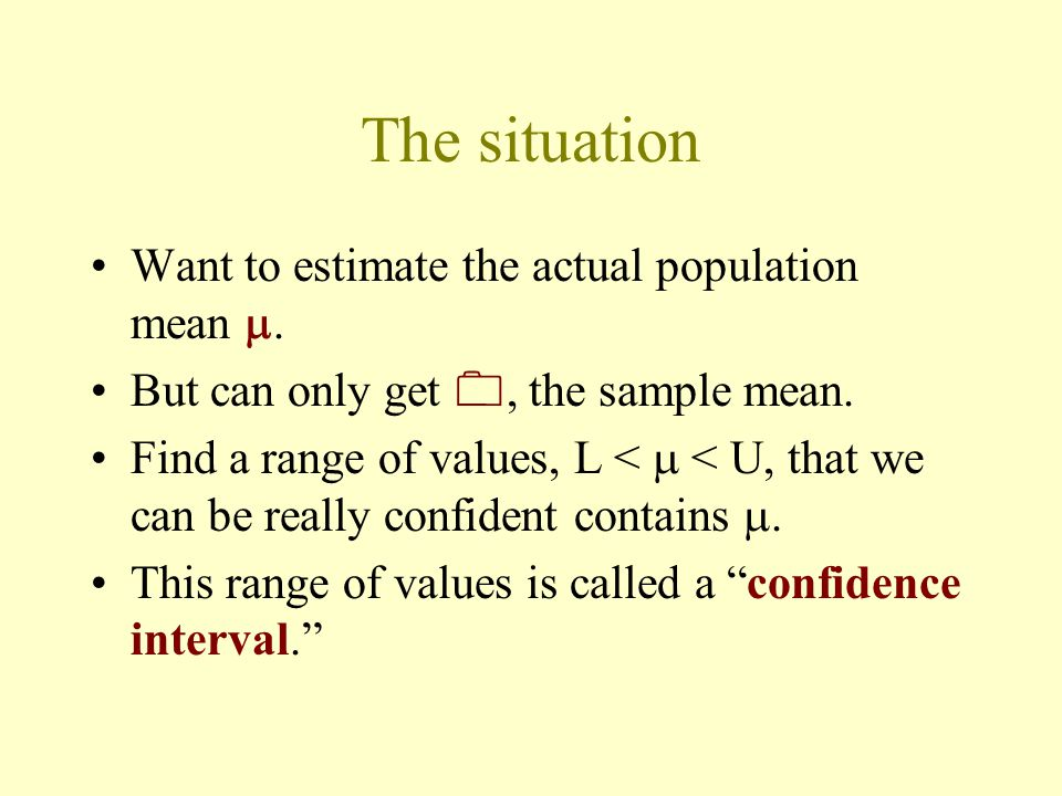 The situation Want to estimate the actual population mean .