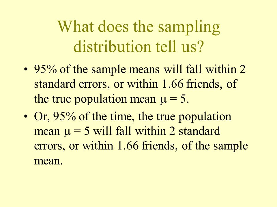 What does the sampling distribution tell us.