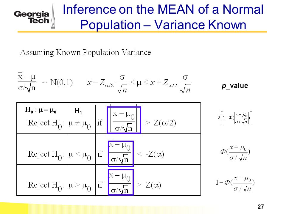 Inference on the MEAN of a Normal Population – Variance Known H1H1 p_value 27