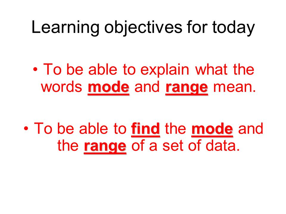 Learning objectives for today moderangeTo be able to explain what the words mode and range mean.