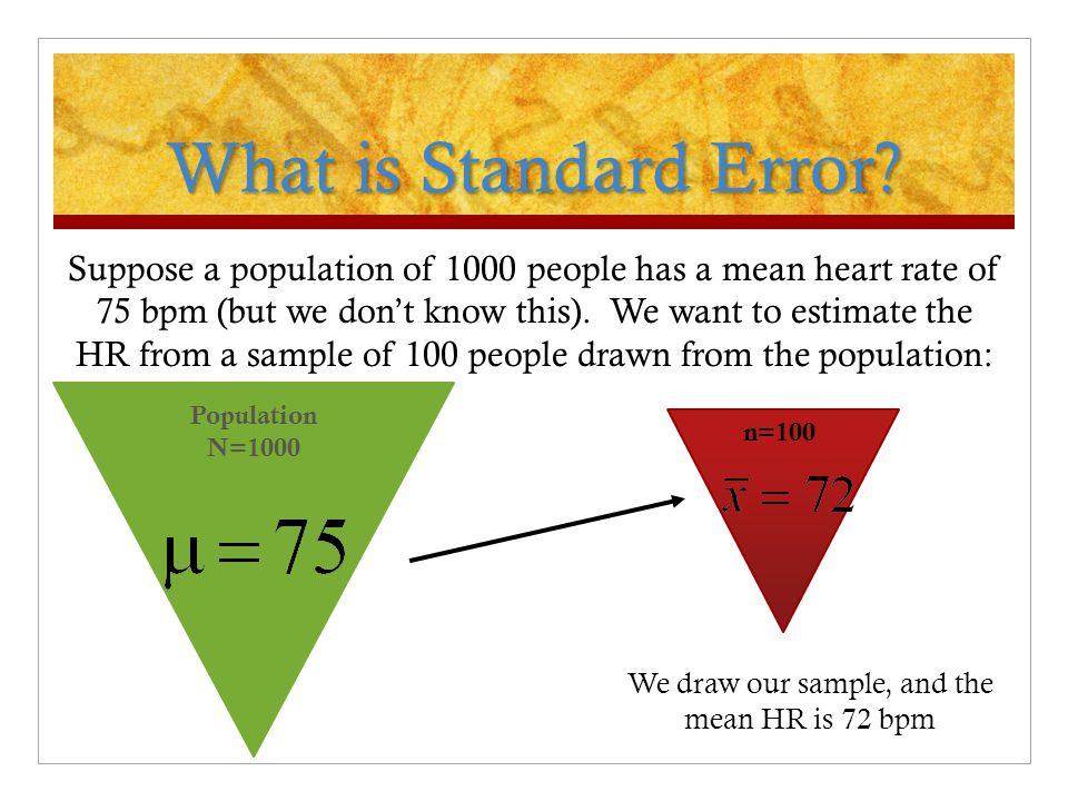 What is Standard Error? Suppose a population of 1000 people has a mean heart rate of 75 bpm (but we don't know this). We want to estimate the HR from