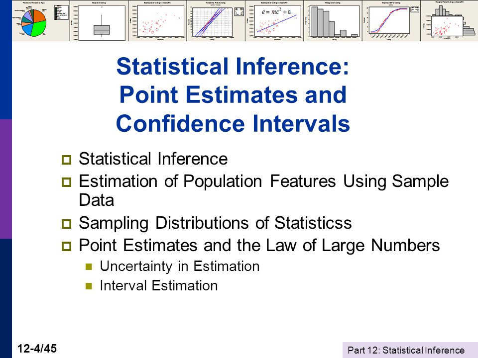 Part 12: Statistical Inference 12-4/45 Statistical Inference: Point Estimates and Confidence Intervals  Statistical Inference  Estimation of Population Features Using Sample Data  Sampling Distributions of Statisticss  Point Estimates and the Law of Large Numbers Uncertainty in Estimation Interval Estimation
