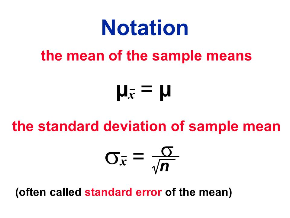Notation the mean of the sample means the standard deviation of sample mean  (often called standard error of the mean) µ x = µ x =x =  n