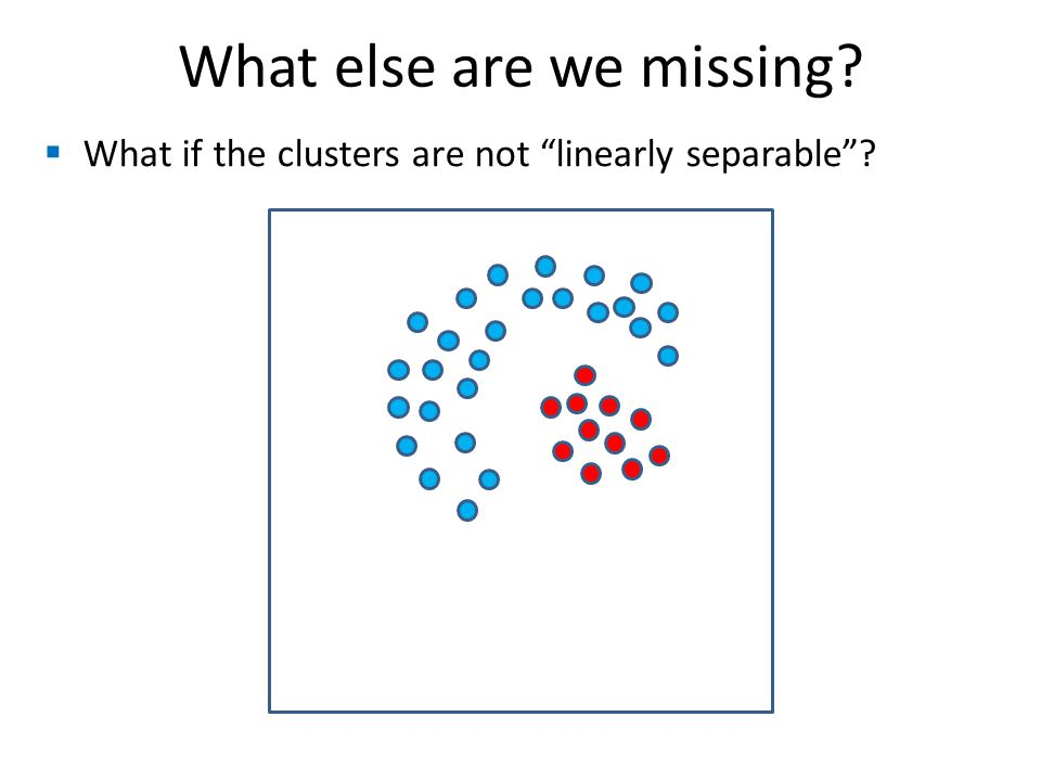  What if the clusters are not linearly separable What else are we missing