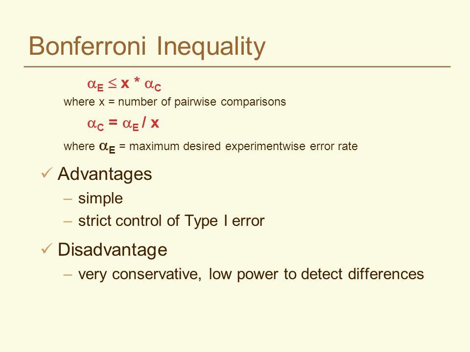 Bonferroni Inequality  E  x *  C where x = number of pairwise comparisons  C =  E / x where  E = maximum desired experimentwise error rate Advan