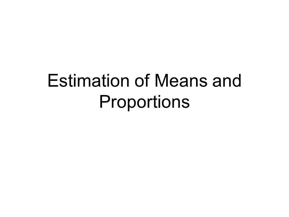 Estimation of Means and Proportions