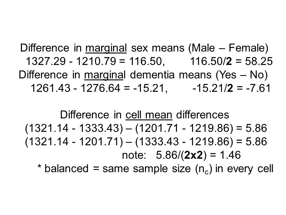 Difference in marginal sex means (Male – Female) 1327.29 - 1210.79 = 116.50, 116.50/2 = 58.25 Difference in marginal dementia means (Yes – No) 1261.43 - 1276.64 = -15.21, -15.21/2 = -7.61 Difference in cell mean differences (1321.14 - 1333.43) – (1201.71 - 1219.86) = 5.86 (1321.14 - 1201.71) – (1333.43 - 1219.86) = 5.86 note: 5.86/(2x2) = 1.46 * balanced = same sample size (n c ) in every cell