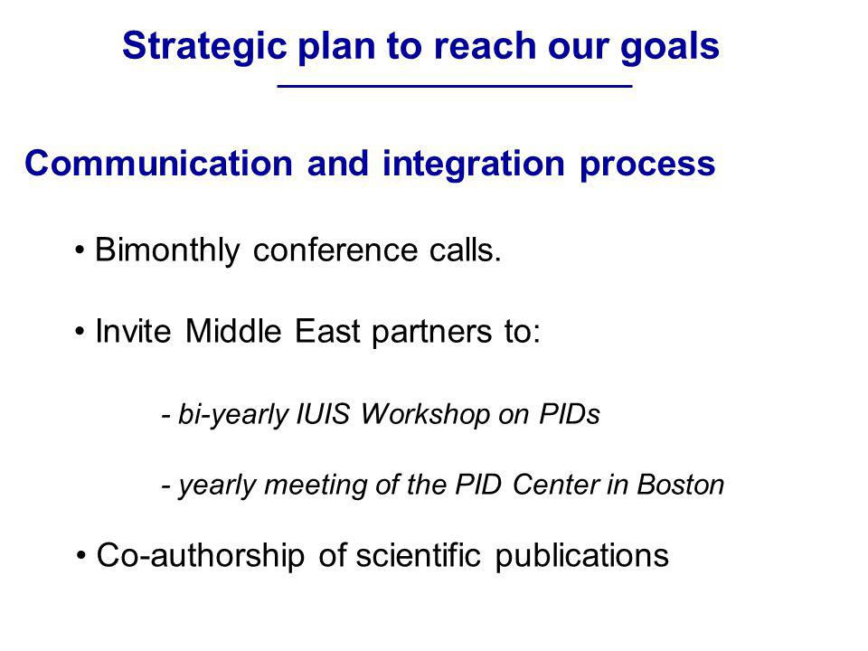 Strategic plan to reach our goals Bimonthly conference calls. Invite Middle East partners to: - bi-yearly IUIS Workshop on PIDs - yearly meeting of th