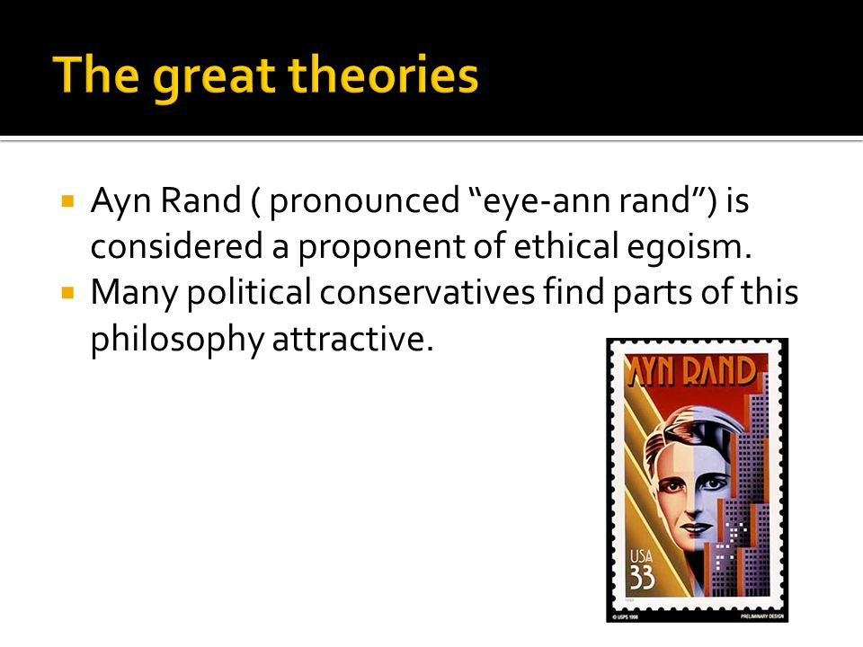 """ Ayn Rand ( pronounced """"eye-ann rand"""") is considered a proponent of ethical egoism.  Many political conservatives find parts of this philosophy attr"""