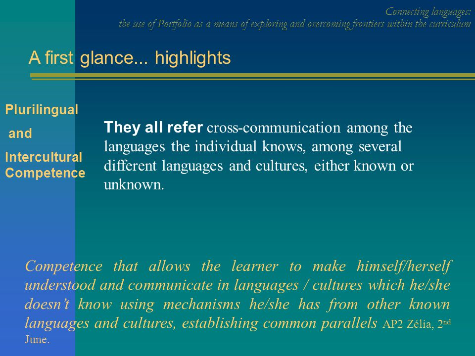 Connecting languages: the use of Portfolio as a means of exploring and overcoming frontiers within the curriculum A first glance...