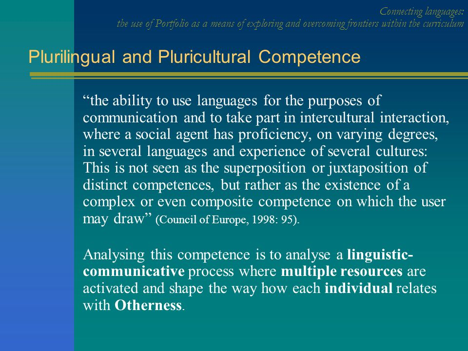 Plurilingual and Pluricultural Competence A: social-affective Motivations and attitudes C: learning repertoires management B: linguistic and communicative repertoires management D: interaction management Plurilingual and Pluricultural Competence Connecting languages: the use of Portfolio as a means of exploring and overcoming frontiers within the curriculum DIMENSIONSDIMENSIONS