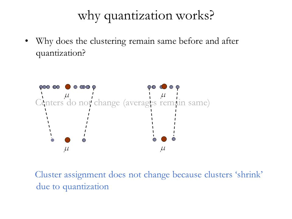 why quantization works? Why does the clustering remain same before and after quantization? Centers do not change (averages remain same) Cluster assign