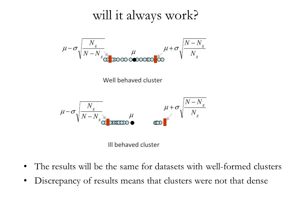 will it always work? The results will be the same for datasets with well-formed clusters Discrepancy of results means that clusters were not that dens
