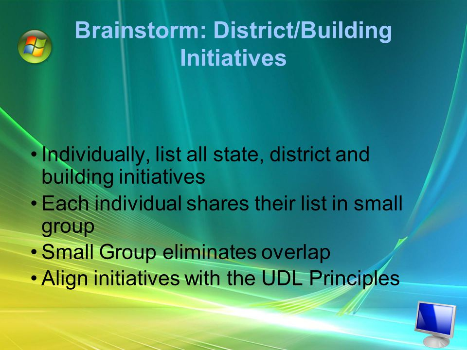 Brainstorm: District/Building Initiatives Individually, list all state, district and building initiatives Each individual shares their list in small group Small Group eliminates overlap Align initiatives with the UDL Principles