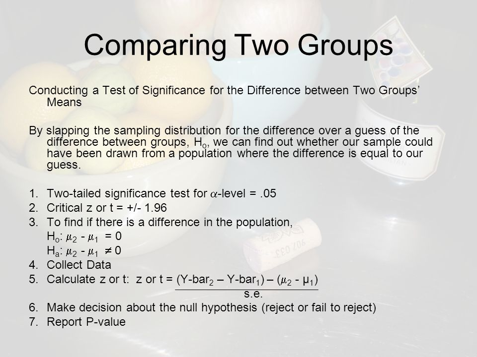 Comparing Two Groups Conducting a Test of Significance for the Difference between Two Groups' Means By slapping the sampling distribution for the difference over a guess of the difference between groups, H o, we can find out whether our sample could have been drawn from a population where the difference is equal to our guess.